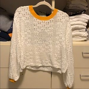 Free People Cropped Open Weave Sweater